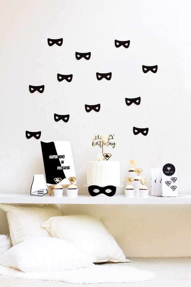 Black Glitter Superhero Garland