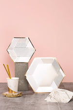 Blanc Hexagon Plates (8 pack)