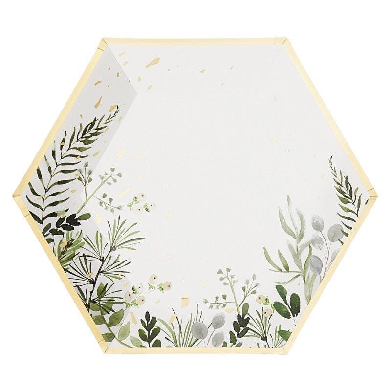 White Botanicals Plates (8 pack)
