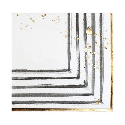 White Brush Strokes Cocktail Napkins (20 pack)