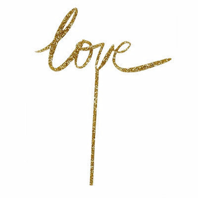 Gold Glitter Love Cake Topper