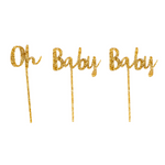 Gold Glitter Oh Baby Baby Cake Topper