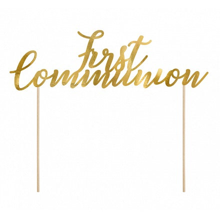 Gold First Communion Cake Topper