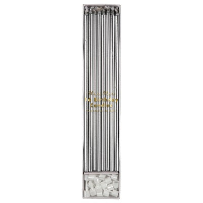 Silver Long Candles (16 pack)