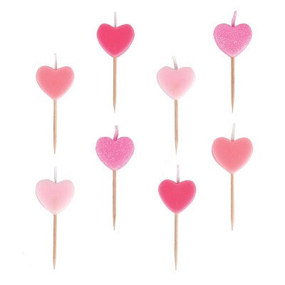 Pink Heart Candles (8 pack)