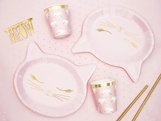 Pink Cat Plates (6 pack)