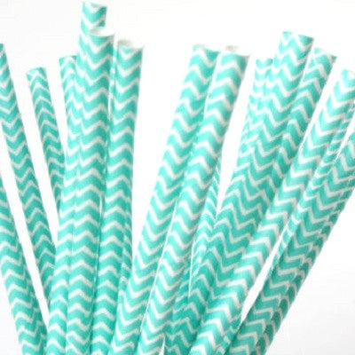 Aqua Green Chevron Straws (25 pack)