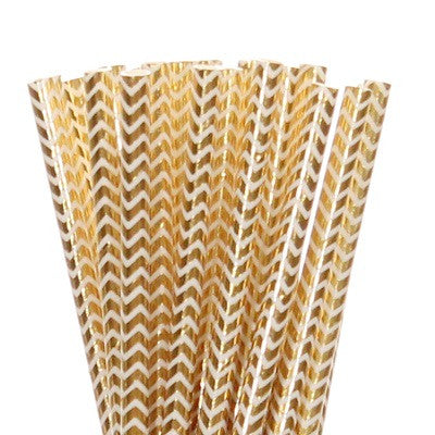 Gold Foil Chevron Straws (25 pack)