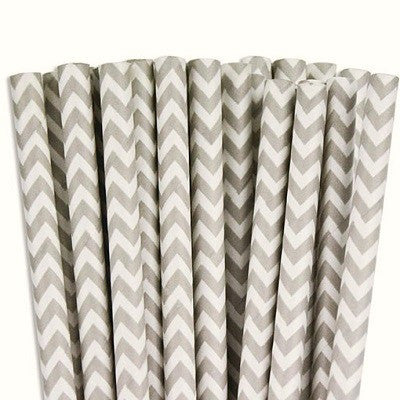 Grey Chevron Straws (25 pack)