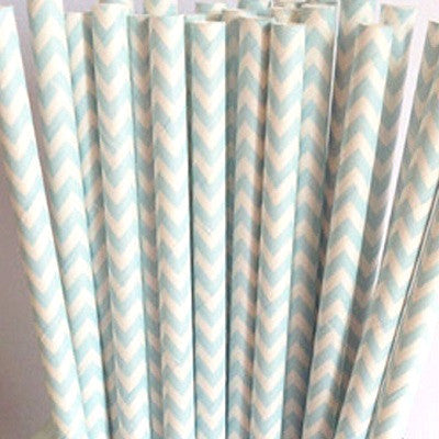 Pale Blue Chevron Straws (25 pack)