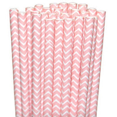 Pale Pink Chevron Straws (25 pack)