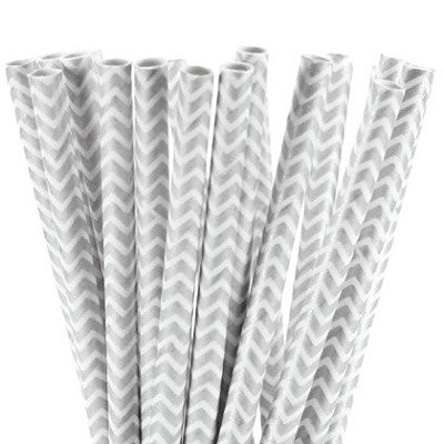 Silver Chevron Straws (25 pack)