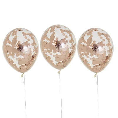 Rose Gold Confetti Balloons (3 pack)