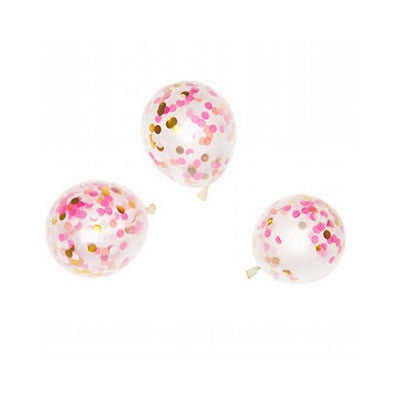 Mini Pink Shimmer Confetti Balloons (3 pack)