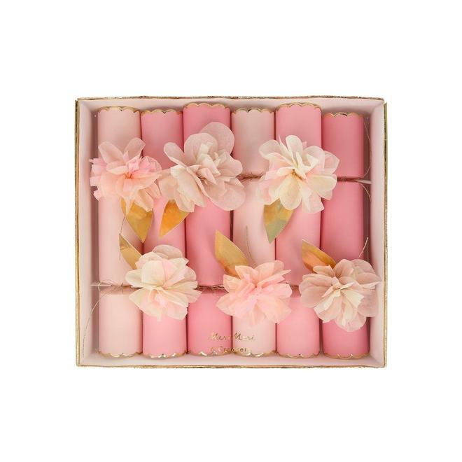 Pink Tissue Floral Crackers (6 pack)