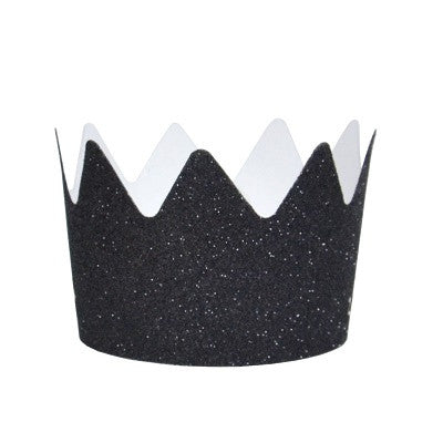 Black Glitter Crown Party Hats (8 pack)