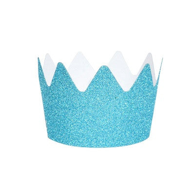 Blue Glitter Crown Party Hats (8 pack)