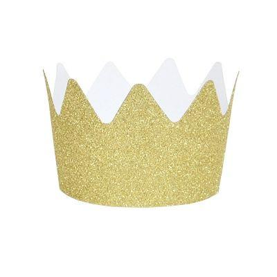 Gold Glitter Crown Party Hats (8 pack)