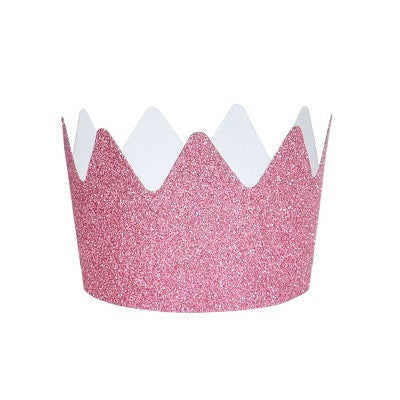 Pink Glitter Crown Party Hats (8 pack)