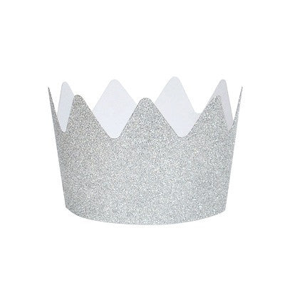 Silver Glitter Crown Party Hats (8 pack)