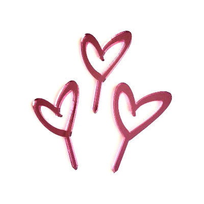 Pink Mirror Heart Cupcake Toppers (12 pack)