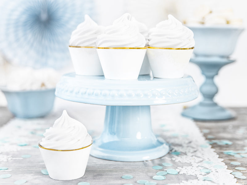 White & Gold Cupcake Wrappers (6 pack)