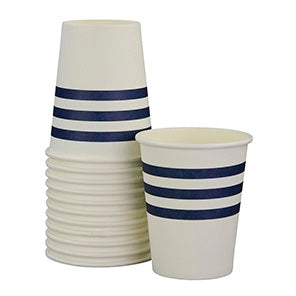 Navy French Stripe Cups (12 pack)