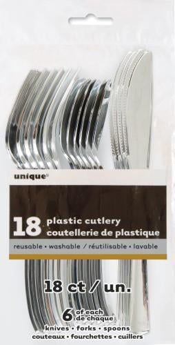 Metallic Silver Cutlery Set (6 sets)