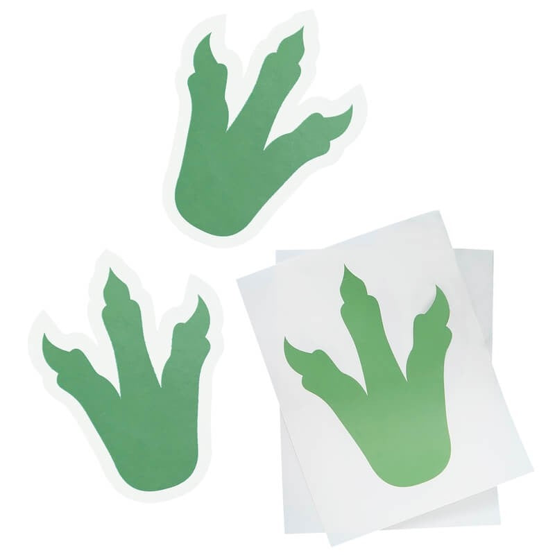Green Dinosaur Footprint Stickers (6 pack)