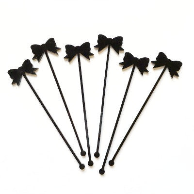 Black Bow Stirrers (6 pack)