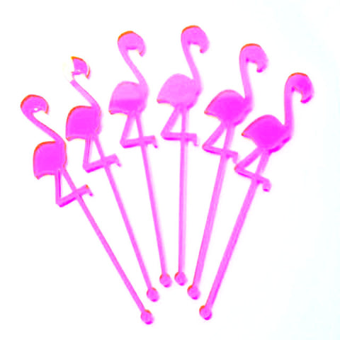 Neon Pink Flamingo Stirrers (6 pack)