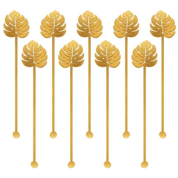 Gold Palm Leaf Drink Stirrers (12 pack)