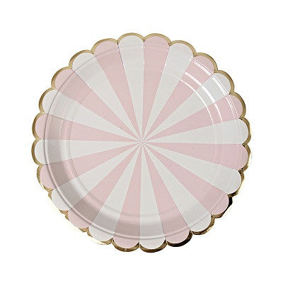Toot Sweet Dusty Pink Striped Dessert Plates (8 pack)