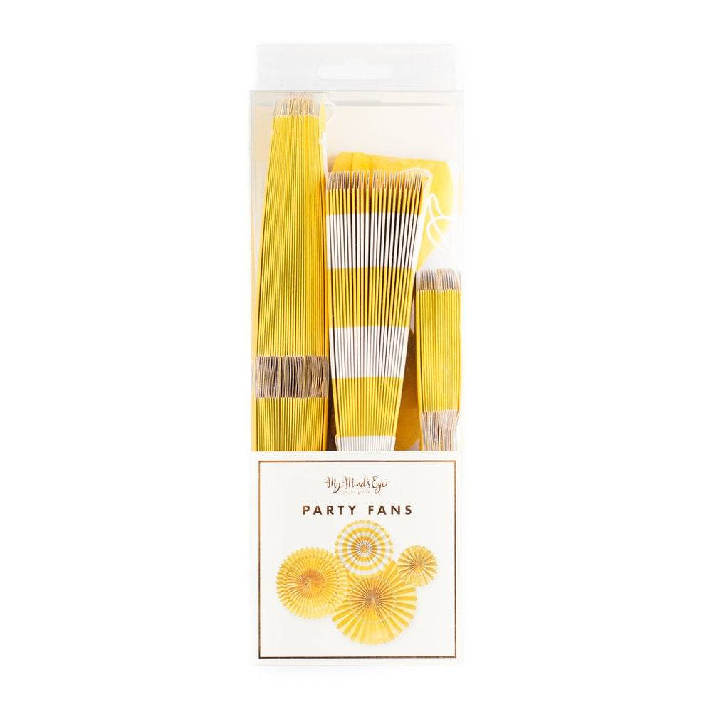 Yellow Party Fans (4 pack)