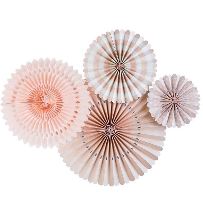 Blush Pink Party Fans (4 pack)