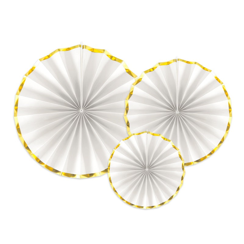 White & Gold Fans (3 pack)