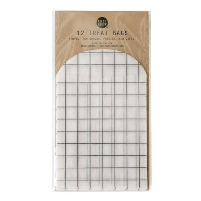 Black Grid Treat Bags (12 pack)