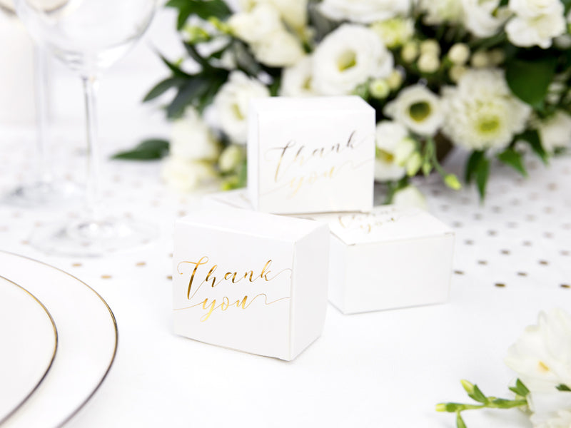 Gold Thank You Favour Boxes (10 pack)
