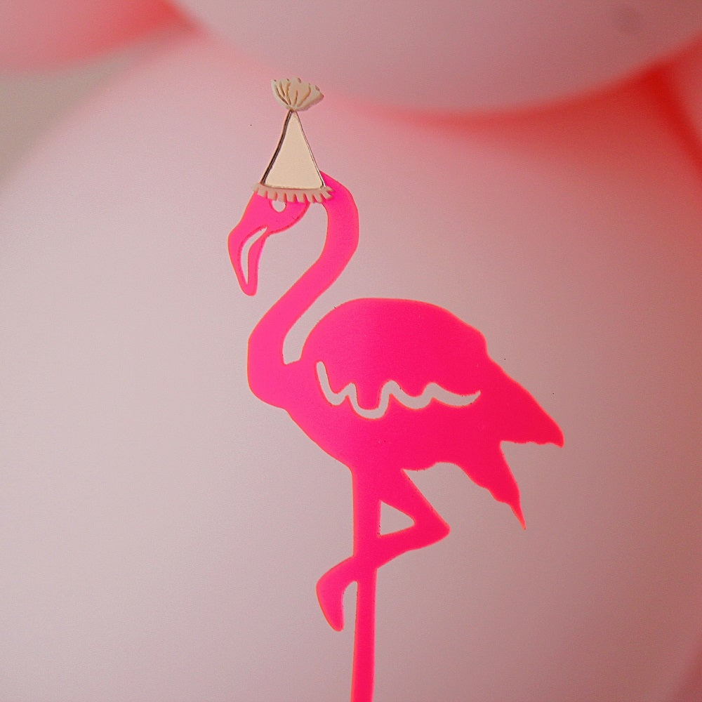 Neon Pink Flamingo Cake Topper