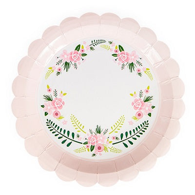 Pink Floral Fancy Plates (8 pack)
