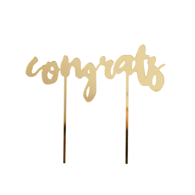 Gold Congrats Mirrored Cake Topper