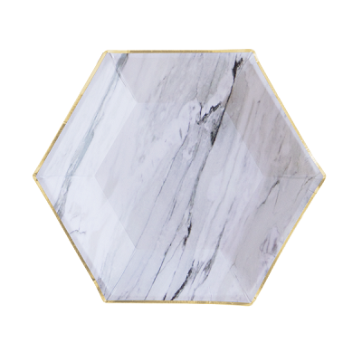 Marble Hexagon Dessert Plates (8 pack)