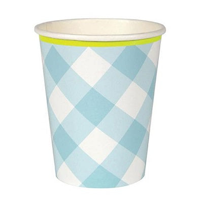 Blue Gingham Cups (12 pack)