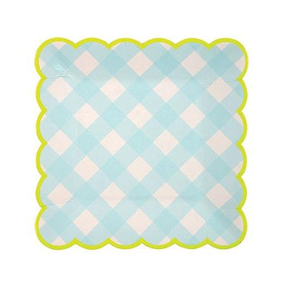 Blue Gingham Plates (12 pack)