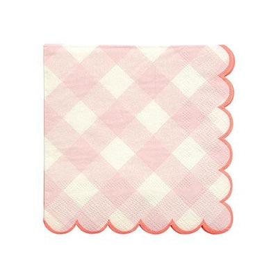 Pink Gingham Cocktail Napkins (20 pack)