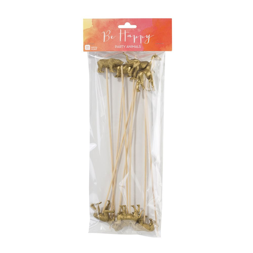 Gold Animal Sticks (8 pack)