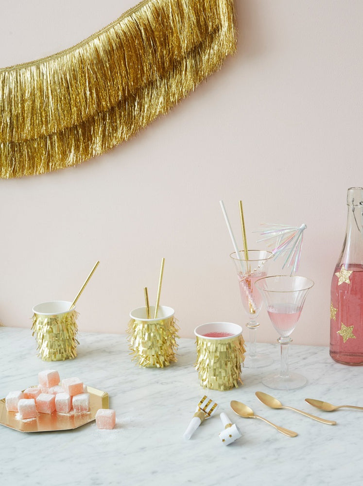 Gold Fringe Party Cups (8 pack)