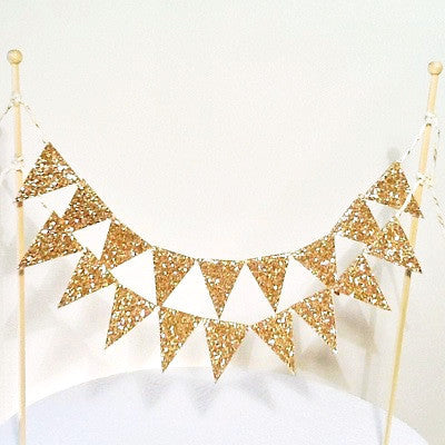 Gold Glitter Flags Cake Topper