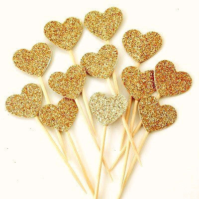Gold Glitter Heart Cupcake Toppers (12 pack)