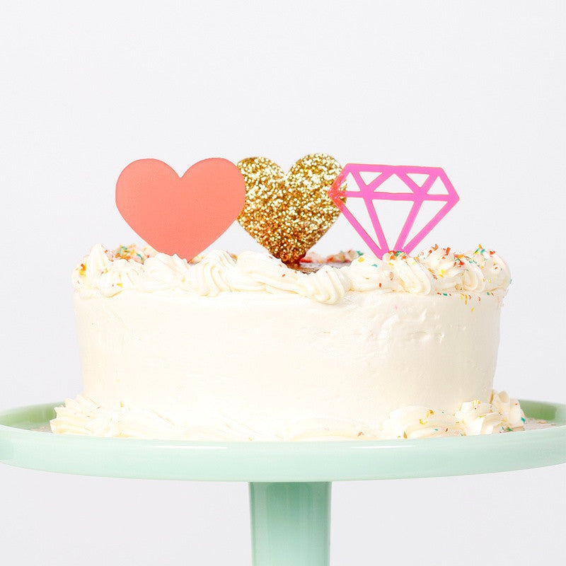 Neon Pink Gem Treat Toppers (6 pack)
